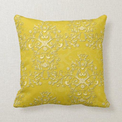 Vibrant Yellow Floral Damask Pattern Throw Pillow Zazzle