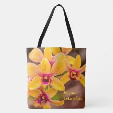 Beach Themed Vibrant Yellow Orchid Hawaiian Monogram Beach Bag