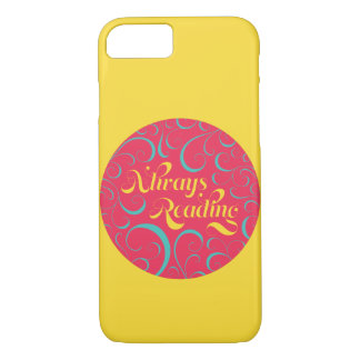 Vibrant Yellow, Pink Bookish Always Reading iPhone 7 Case