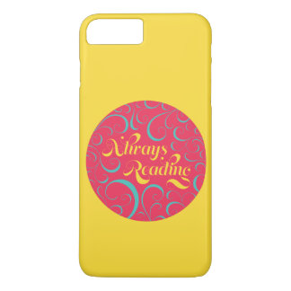 Vibrant Yellow, Pink Bookish Always Reading iPhone 7 Plus Case
