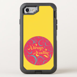 Vibrant Yellow, Pink Bookish Always Reading OtterBox Defender iPhone 7 Case