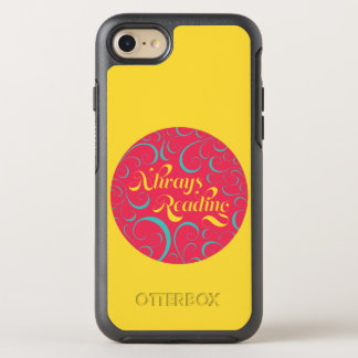 Vibrant Yellow, Pink Bookish Always Reading OtterBox Symmetry iPhone 7 Case