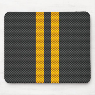 Vibrant Yellow Racing Stripes Carbon Fiber Style Mouse Pad