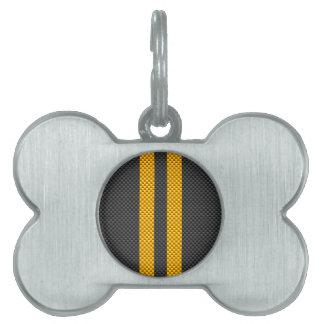 Vibrant Yellow Racing Stripes Carbon Fiber Style Pet ID Tag