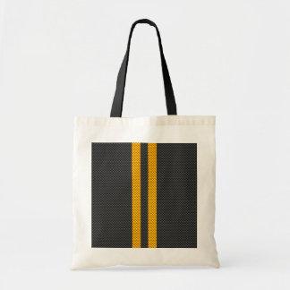 Vibrant Yellow Racing Stripes Carbon Fiber Style Tote Bag