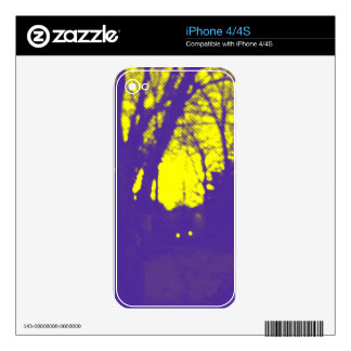 Vibrant Yellow Sky Purple Silhouette Design Skin For The iPhone 4