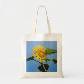 Vibrant Yellow Sunflower Flowers in Blue Sky Tote Bag