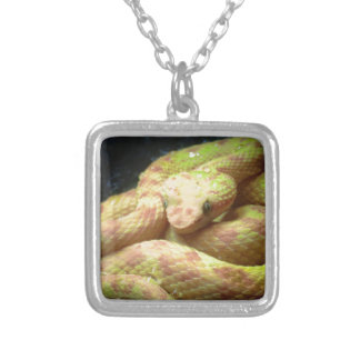 Vibrant Yellow Viper Silver Plated Necklace