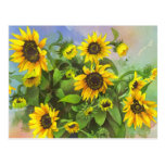 Vibrant Yellow, Watercolor Sunflowers Post Card