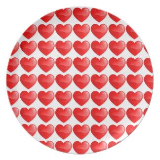 Vibrante del vermelho de Coração Plato Para Fiesta