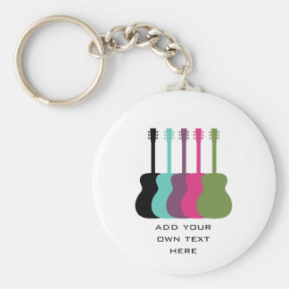 Vibrantly Colored Guitars Keychain