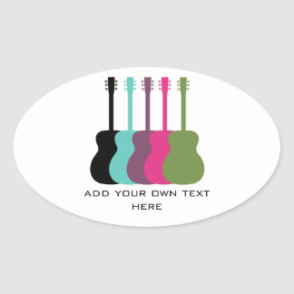 Vibrantly Colored Guitars Oval Stickers