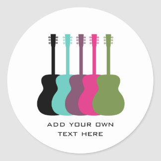 Vibrantly Colored Guitars Stickers