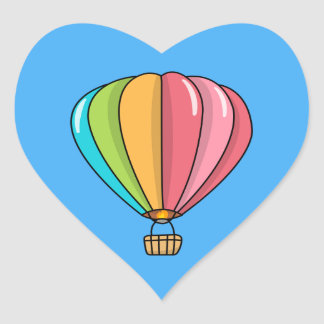 Vibrantly Colored Hot Air Balloon Heart Sticker