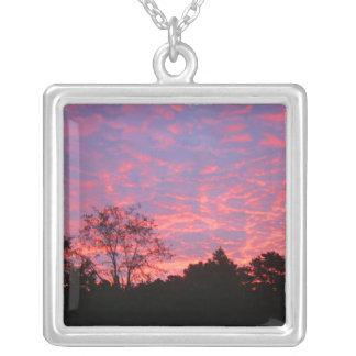 Vibrantly Pink Sunrise Silver Plated Necklace