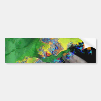 VIBRATIONS OF MATTER,FRACTAL WOMAN IN GREEN YELLOW BUMPER STICKER