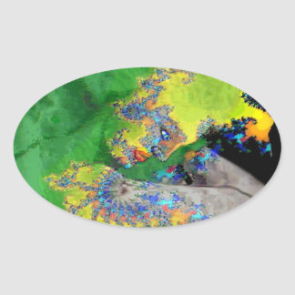 VIBRATIONS OF MATTER,FRACTAL WOMAN IN GREEN YELLOW OVAL STICKER