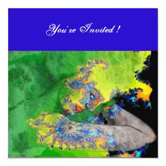 VIBRATIONS OF MATTER ,  green yellow black blue 5.25x5.25 Square Paper Invitation Card