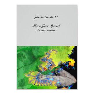 VIBRATIONS OF MATTER ,  green yellow black gray 5x7 Paper Invitation Card