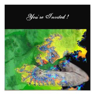 VIBRATIONS OF MATTER ,  green yellow black 5.25x5.25 Square Paper Invitation Card