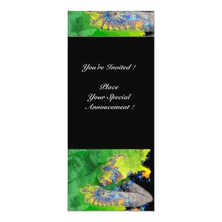 VIBRATIONS OF MATTER ,  green yellow black 4x9.25 Paper Invitation Card
