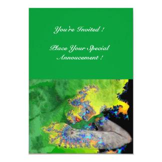 VIBRATIONS OF MATTER ,  green yellow black 5x7 Paper Invitation Card