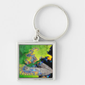 VIBRATIONS OF MATTER ,green yellow black Keychain