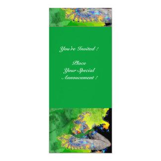 VIBRATIONS OF MATTER ,  green yellow black orange 4x9.25 Paper Invitation Card