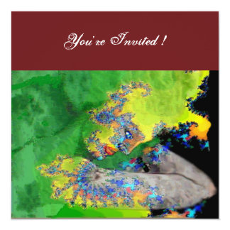 VIBRATIONS OF MATTER ,  green yellow black red 5.25x5.25 Square Paper Invitation Card