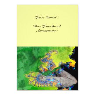 VIBRATIONS OF MATTER , green yellow black yellow 5x7 Paper Invitation Card