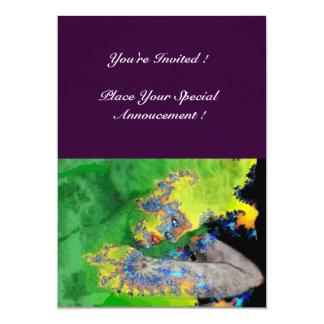 VIBRATIONS OF MATTER ,  green yellow purple 5x7 Paper Invitation Card