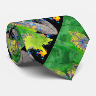 VIBRATIONS OF MATTER,LADY IN GREEN YELLOW FRACTALS NECK TIE