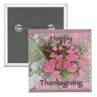 Viburnum Fall Foliage Happy Thanksgiving Items 2 Inch Square Button