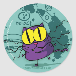 Vic, the genius kitty classic round sticker