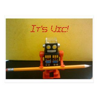 Vic the pencil sharpening robot postcard