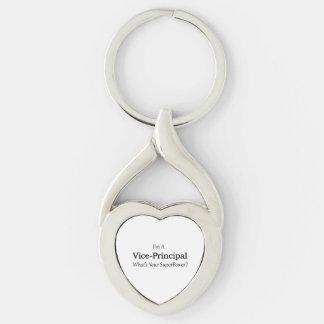 Vice-Principal Silver-Colored Heart-Shaped Metal Keychain