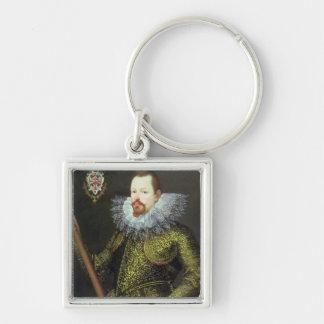 Vicente Gonzaga, duque de Mantua, 1600 Llavero Cuadrado Plateado