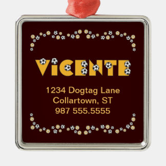Vicente in Soccer Gold Metal Ornament