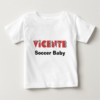 Vicente in Soccer Red Baby T-Shirt