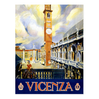 Vicenza Italy Vintage Travel Poster Restored Postcard