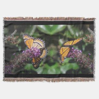 Viceroy Butterfly Flowers Floral Habitat Garden Throw Blanket
