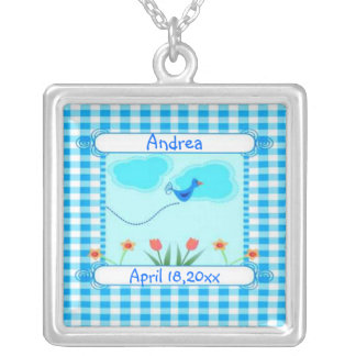 Vichy New Baby Boy Square Pendant Necklace