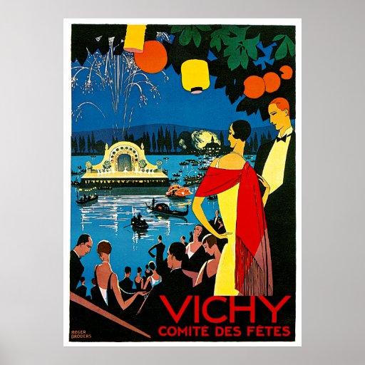 Vichy, poster del viaje del vintage de los fetes d