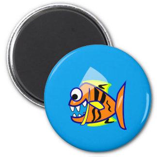 VICIOUS CARTOON FUNNY PIRANHA FISH SEA LOGO GRAPHI 2 INCH ROUND MAGNET