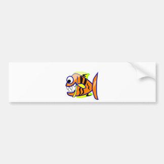 VICIOUS CARTOON FUNNY PIRANHA FISH SEA LOGO GRAPHI BUMPER STICKER