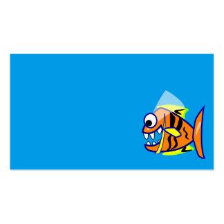 VICIOUS CARTOON FUNNY PIRANHA FISH SEA LOGO GRAPHI BUSINESS CARD