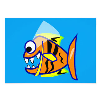VICIOUS CARTOON FUNNY PIRANHA FISH SEA LOGO GRAPHI CARD