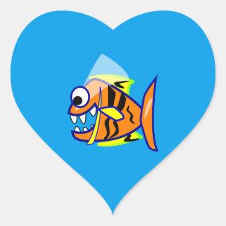 VICIOUS CARTOON FUNNY PIRANHA FISH SEA LOGO GRAPHI HEART STICKER