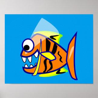 VICIOUS CARTOON FUNNY PIRANHA FISH SEA LOGO GRAPHI POSTER