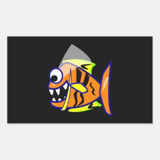 VICIOUS CARTOON FUNNY PIRANHA FISH SEA LOGO GRAPHI RECTANGULAR STICKER